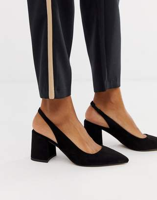 Asos Design DESIGN Samson slingback mid heels in black