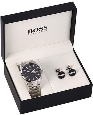 HUGO BOSS Watch Cufflinks Gift Set Silver