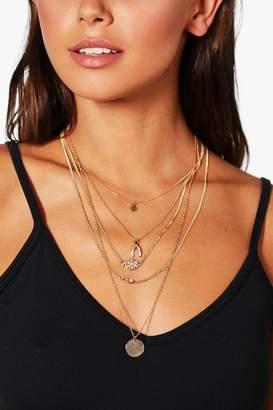 boohoo Wishbone & Coin Layered Chain Choker