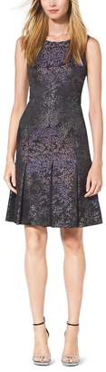 Michael Kors Inverted-Pleat Silk-Jacquard Dress