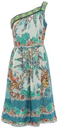 Anna Sui One-shoulder Printed Metallic Silk-blend Georgette Dress