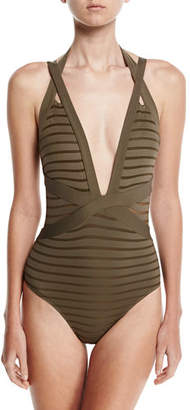 Jets Parallels Crisscross Halter One-Piece Swimsuit