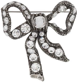 Gucci Silver Bow Crystal Brooch
