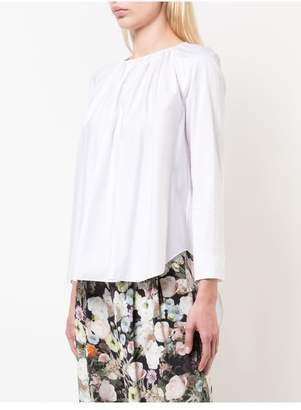 ADAM by Adam Lippes Gathered Cotton Poplin Blouse With Zip Back