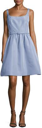 Oscar de la Renta Belted Silk A-Line Dress
