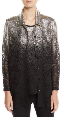Berek Speckle-Border Easy Shirt Jacket with Lace, Plus Size
