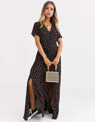 Daisy Street button through maxi dress with splits in ditsy floral