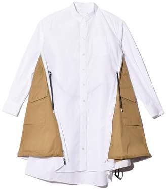 Sacai Cotton Poplin Dress in White/Beige