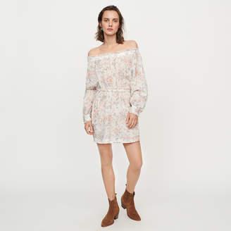 Maje Printed-cotton voile smocking dress