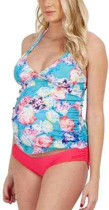 MiYang Halter Maternity Tankini Floral Pregnancy Triangle Swimsuit
