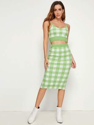 Shein Gingham Print Cami Sweater Top & Pencil Skirt Set