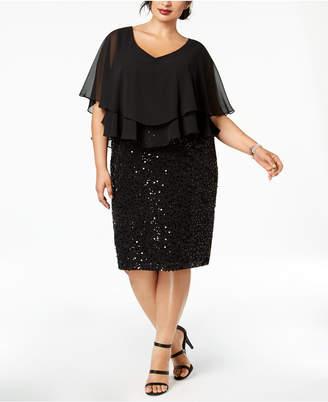 Alex Evenings Plus Size Ruffled Popover Dress