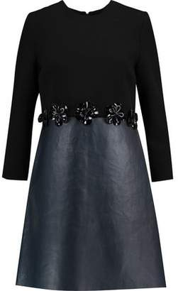 Victoria Beckham Victoria Appliquéd Wool-Crepe And Leather Mini Dress