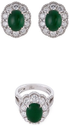 LC Collection Jade Diamond jade 18k white gold ring and earrings set