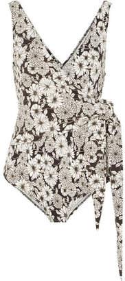 Lisa Marie Fernandez Dree Louise Floral-print Stretch-crepe Wrap Swimsuit - Black