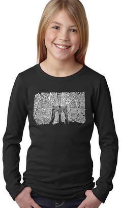 LOS ANGELES POP ART Los Angeles Pop Art Brooklyn Bridge Long Sleeve Girls Word Art T-Shirt