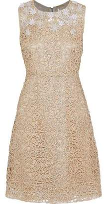Elie Tahari Ophelia Embellished Metallic Guipure Lace Dress