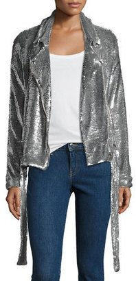 Iro Oliv Sequined Moto Jacket, Silver $890 thestylecure.com