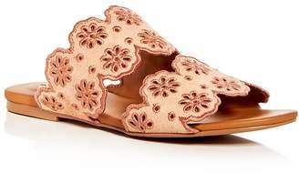 See by Chloe Women's Floral Eyelet Suede Slide Sandals