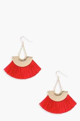 boohoo Plate Fringed Tassel Earrings