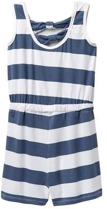 Poof Rugby Stripe Bow Back Romper (Big Girls)