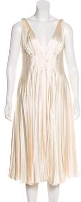 J. Mendel Satin Pleated Dress