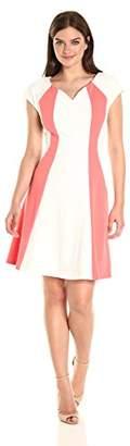 Sandra Darren Women's 1 Pc Extended Shoulder Knit and Lace V-Neck a Line Dress