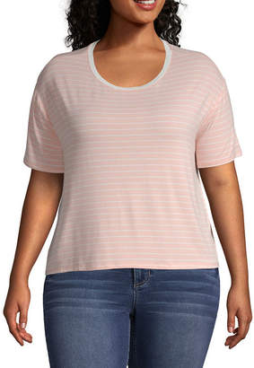 Arizona Long Sleeve Scoop Neck Stripe T-Shirt-Womens Juniors Plus