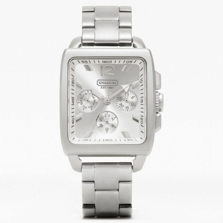 Coach Boyfriend Square Stainless Steel Bracelet Watch