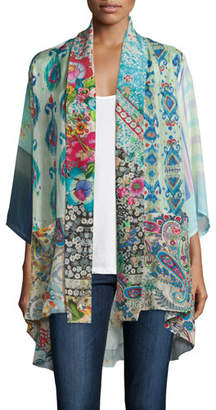 Johnny Was Mixed-Print Tie-Front Silk Kimono, Plus Size