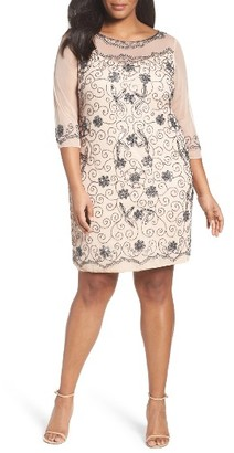 Plus Size Women's Pisarro Nights Illusion Neck Beaded Shift Dress $198 thestylecure.com