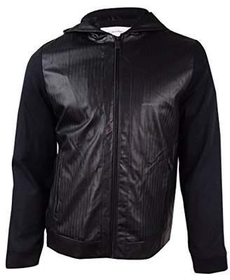 Calvin Klein Men's Embossed Faux Leather Mix Media Jacket