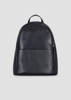 Emporio Armani Backpack In Grained Leather With Pressed Front Logo 8253b7b4b6601