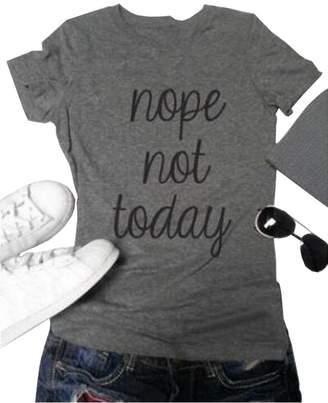 ZAWAPEMIA Womens Nope Not Today Printed Casual Tee Juniors Tshirt Tops S