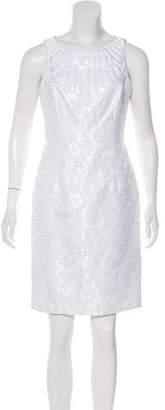 Carmen Marc Valvo Jacquard Knee-Length Dress