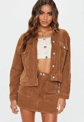 Missguided Tan Cord Trucker Jacket Co-Ord