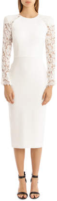 Dreyden - Satin Crepe Long Sleeve Lace Lady Dress