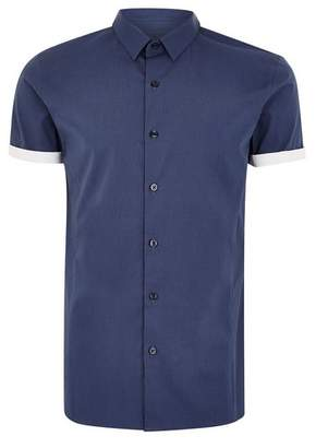 Topman Mens Navy Turn Up Short Sleeve Shirt