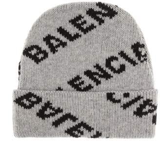 Balenciaga Intarsia wool-blend beanie