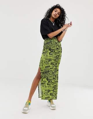 New Girl Order midi slip skirt in newspaper print with side split