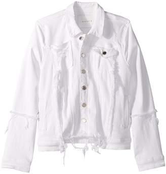 Blank NYC Kids Distressed White Denim Jacket in Heartbreaker Girl's Coat