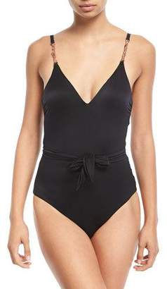 Luxe by Lisa Vogel V-Neck Wrap Maillot One-Piece Swimsuit