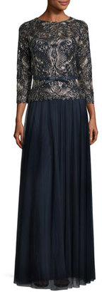 Tadashi Shoji 3/4-Sleeve Embroidered Tulle Gown, Navy/Gold $448 thestylecure.com