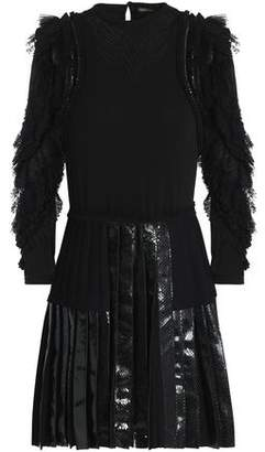 Roberto Cavalli Embellished Ruffled Snake-Paneled Crepe Mini Dress