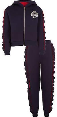 River Island Girls rhinestone frill hoodie outfit
