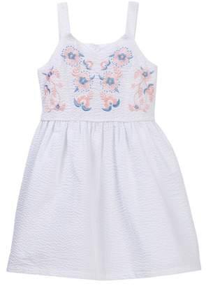 Blush by Us Angels Sleeveless Embroidered Seersucker Dress (Big Girls)