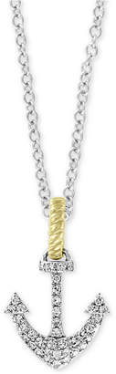 "Effy Diamond Two-Tone Anchor 18"" Pendant Necklace (1/6 ct. t.w.) in 14k Gold & White Gold"