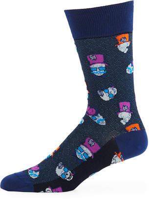 Bugatchi Men's Mustache-Skull Socks