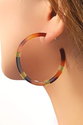 Taolei 18K Yellow Gold Plated Wire-Wrapped Tortoiseshell 51mm Acetate Hoop Earrings