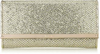 Jimmy Choo MILLA Champagne Glitter Fabric Clutch Bag